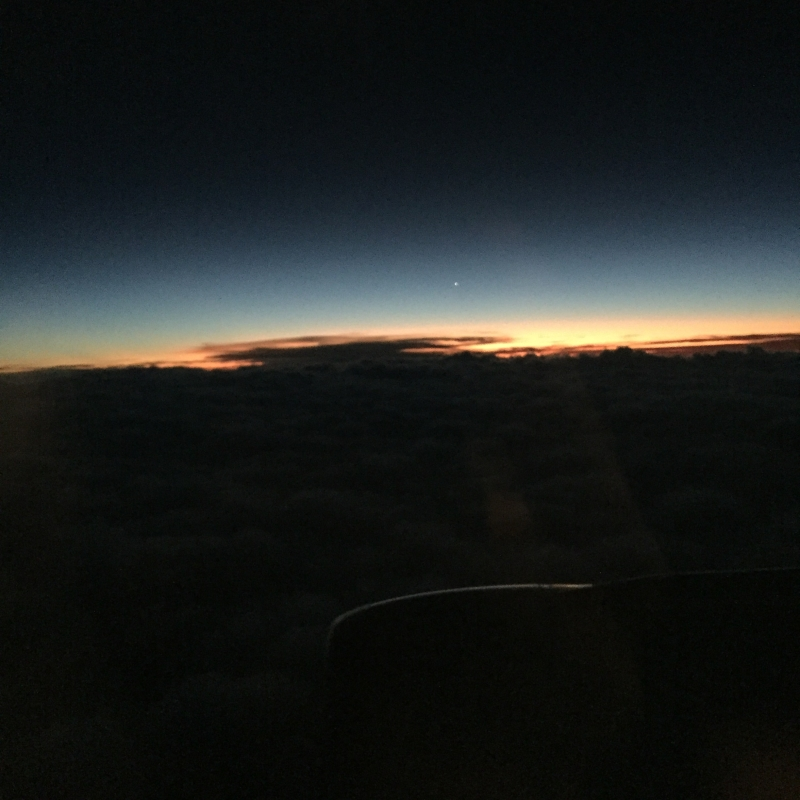 Night sky on plane